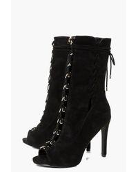 Boohoo - Black Lucia Peeptoe Lace Up Calf Shoe Boot - Lyst
