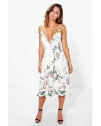 Boohoo Multicolor Hazel Floral Plunge Neck Midi Skater Dress