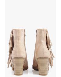 Boohoo Black Freya Fringe Trim Heeled Ankle Boot