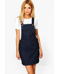 Boohoo | Blue Kirsty Stripe Denim Pinafore Dress | Lyst