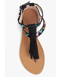 Boohoo Black Ella Embroidered Tassel Trim Thong Sandal