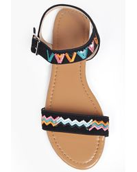 Boohoo Black Bella Contrast Stitch Two Part Sandal