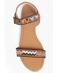 Boohoo Brown Bella Contrast Stitch Two Part Sandal