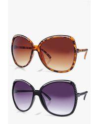 Boohoo Multicolor Julia Oversized Frame Sunglasses 2 Pack