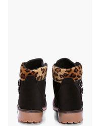 Boohoo Black Ella Chunky Hiker Boot With Buckle