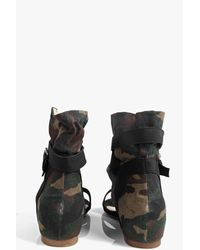 Boohoo Black Holly Camo Demi Wedge Wrap Strap Sandal