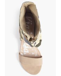 Boohoo Natural Holly Camo Demi Wedge Wrap Strap Sandal