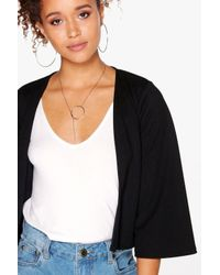 Boohoo - Black Julia Crop Bell Sleeve Jacket - Lyst