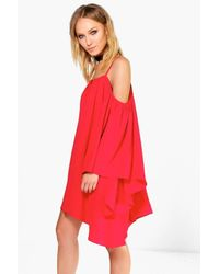 Boohoo White Willow Oriental Bell Sleeve Cold Shoulder Dress