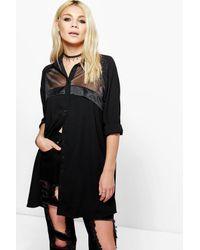 Boohoo Black Karrueche Sheer Panelled Shirt Dress