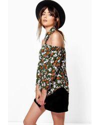 Boohoo Multicolor Mandy Floral Print Cut Out Detail Shirt