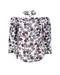 Boohoo White Mandy Floral Print Cut Out Detail Shirt