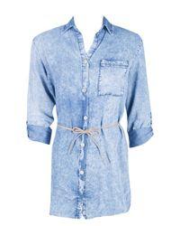 Boohoo - Blue Lucy Acid Wash Denim Shirt - Lyst