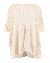 Boohoo - Natural Mya Pointelle Knit Poncho - Lyst