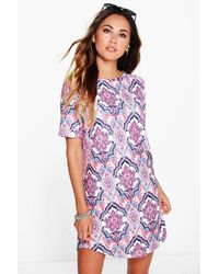 Boohoo - Purple Arisa Paisley Curved Hem Shift Dress - Lyst