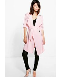 Boohoo Pink Maisie Waterfall Belted Trench