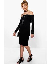 Boohoo - Black Ria Off The Shoulder Midi Dress - Lyst