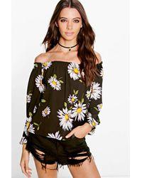 Boohoo Black Emma Sunflower Print Off The Shoulder Top