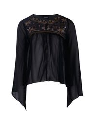 Boohoo - Black Molly Embroidered Wide Sleeved Top - Lyst