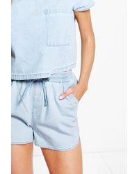 Boohoo - Blue Dora Denim Runner Shorts - Lyst