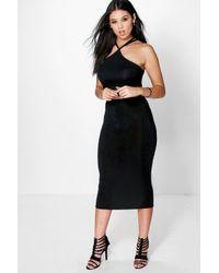 Boohoo - Black Adelaide Shimmer Slinky Longer Line Midi Skirt - Lyst