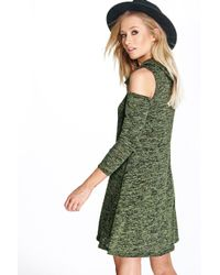 Boohoo Green Emily Marl Cowl Neck Cold Shoulder Swing Dress