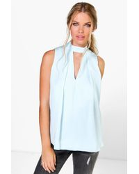 Boohoo Multicolor Eva Cut Out Pleat Front Woven Swing Top