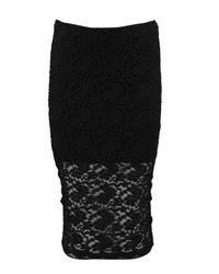 Boohoo - Black Nori Lace Longer Line Midi Skirt - Lyst