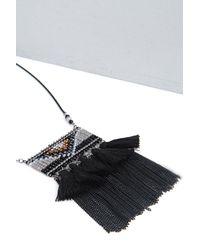 Boohoo - Black Lara Aztec Fringed Necklace - Lyst