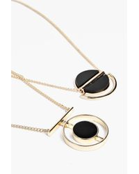 Boohoo - Metallic Faye Geometric Marble Stone Necklace Pack - Lyst