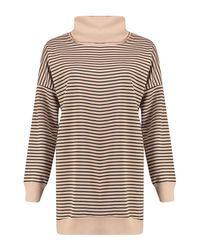 Boohoo - Gray Natasha Stripe Roll Neck Shirt Dress - Lyst