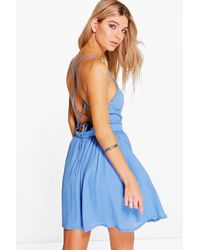 Boohoo | Blue Anca Strappy Back Woven Skater Dress | Lyst