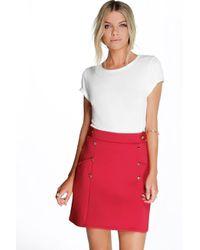 Boohoo - Black Samantha Button Front A Line Mini Skirt - Lyst