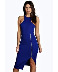 Boohoo - Blue Serena Cut Away Zip Front Midi Dress - Lyst