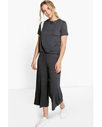 Boohoo - Black Iza Boxy Jumper & Culottes Knitted Co-ord - Lyst
