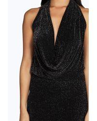 Boohoo Black Laila Metallic Cowl Front Asymmetric Maxi Dress
