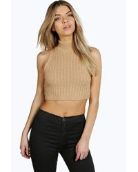 Boohoo - Natural Clara Turtle Neck Rib Knit Crop Jumper - Lyst