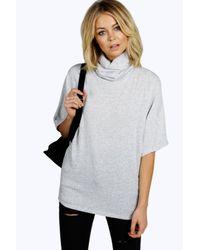 Boohoo | Gray Mia Premium Knit Cowl Neck 1/2 Sleeve Top | Lyst