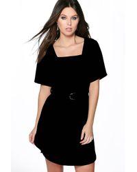 Boohoo | Black Larissa Buckle Detail Curved Hem Shift Dress | Lyst