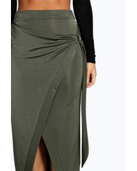 Boohoo - Green Willow Slinky D Ring Wrap Asymetric Midi Skirt - Lyst