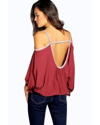 Boohoo - Red Leah Tapestry Trim Open Shoulder Blouse - Lyst