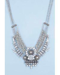 Boohoo | Metallic Vanessa Statement Floral Gem Necklace | Lyst