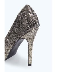 Boohoo - Gray Alice Glitter Ombre Pointed Courts - Lyst