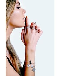 Boohoo - Metallic Boutique Sterling Silver Black Stone Cuff - Lyst