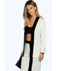 Boohoo - Black Bella Contrast Kimono Belted Blazer - Lyst