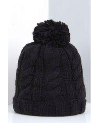 Boohoo - Black Rosie Chunky Knit Bobble Hat - Lyst