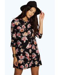 Boohoo Multicolor Liliane Floral Shirt Dress