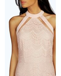 Boohoo - Natural Boutique Kate Lace Cutaway Bodycon Dress - Lyst