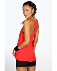 Boohoo - Red Alison Fit Twist Back Drop Arm Vest - Lyst