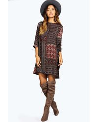 Boohoo - Brown Jolie Paisley Shift Dress - Lyst